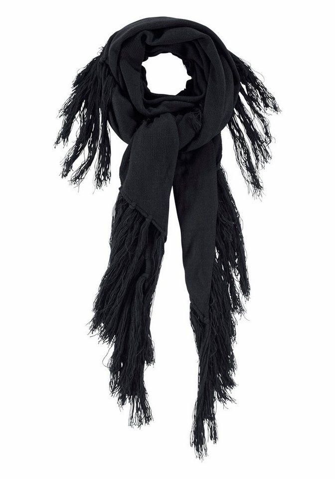 J. Jayz Strickschal »mit langen Fransen« Fransen ca. 29 cm in schwarz
