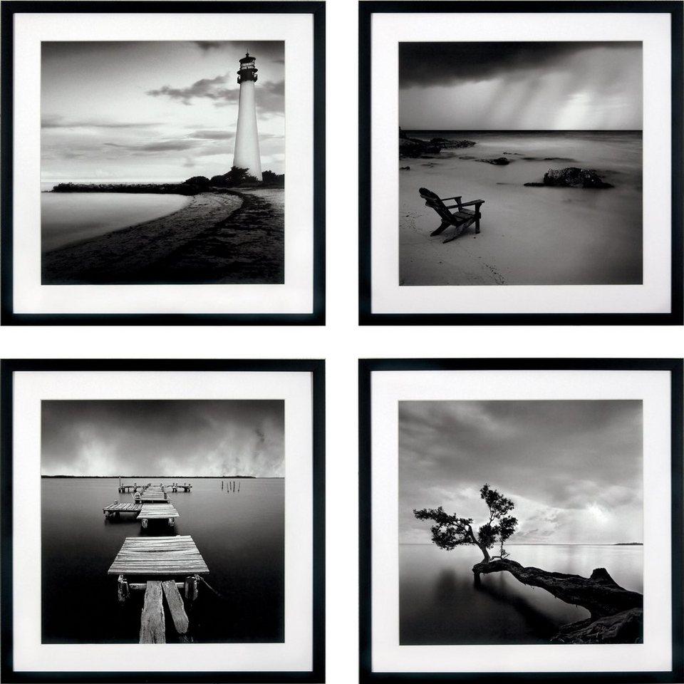 G&C gerahmter Kunstdruck »Levy: Beach Bilderset«, 4 Motive à 50/50 cm in Schwarz/weiß