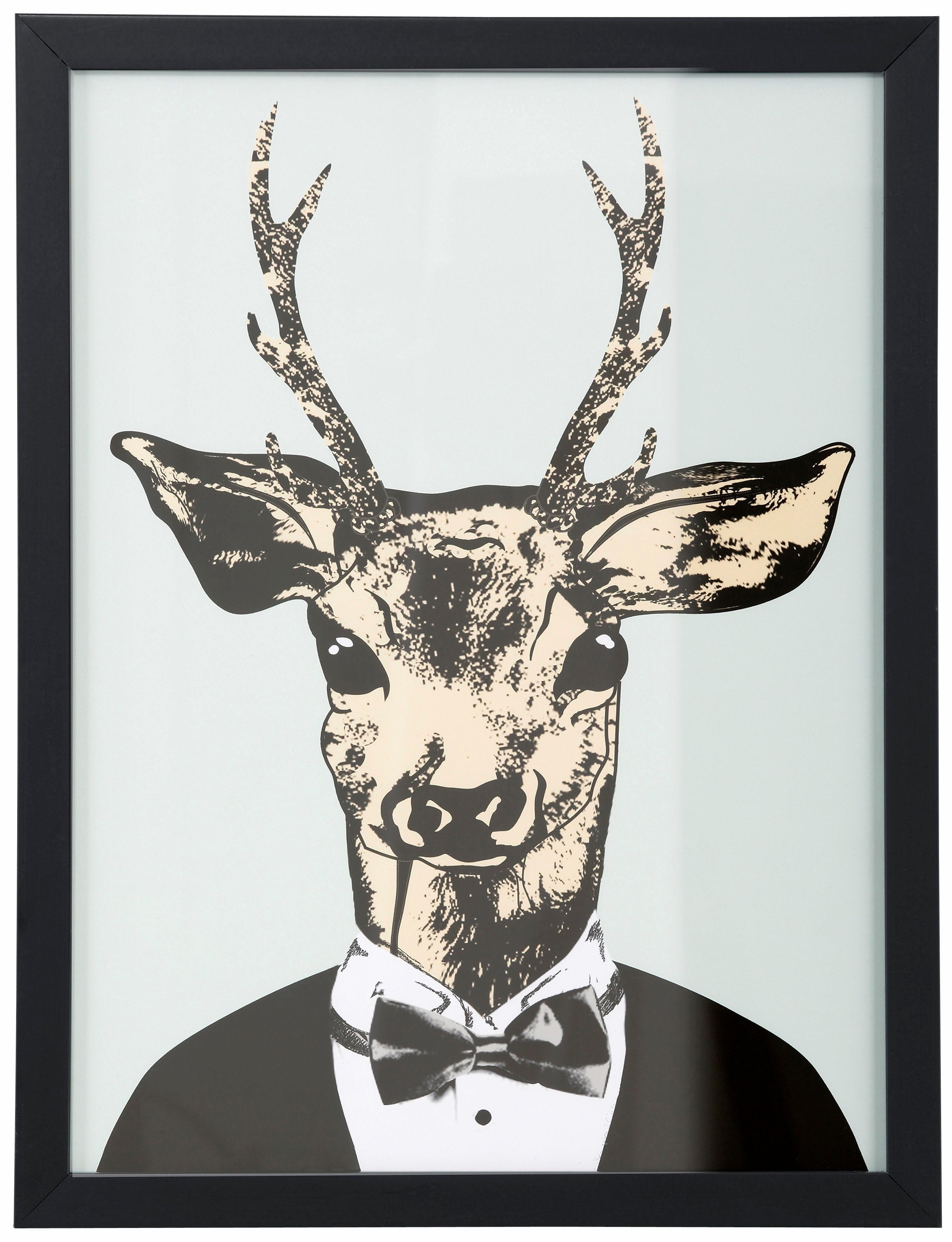 Kunstdruck »Reh in elegantem Anzug«, gerahmt