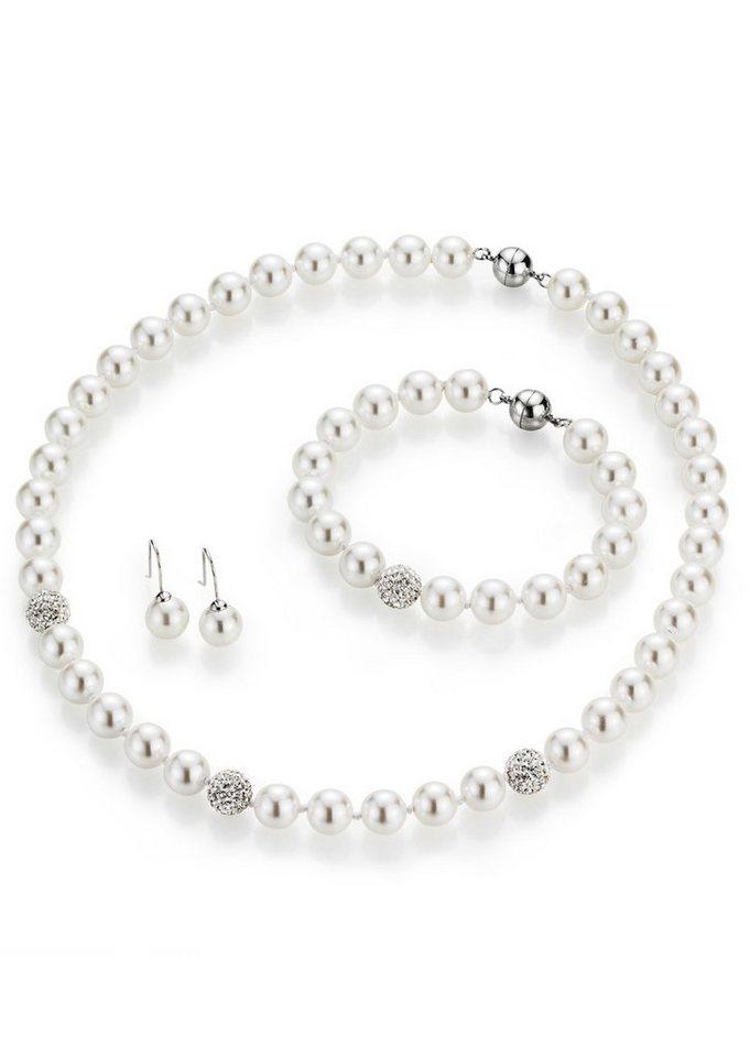 firetti Schmuckset: Collier, Armband und Paar Ohrhaken mit Perle und Kristallsteine in silberfarben/weiß