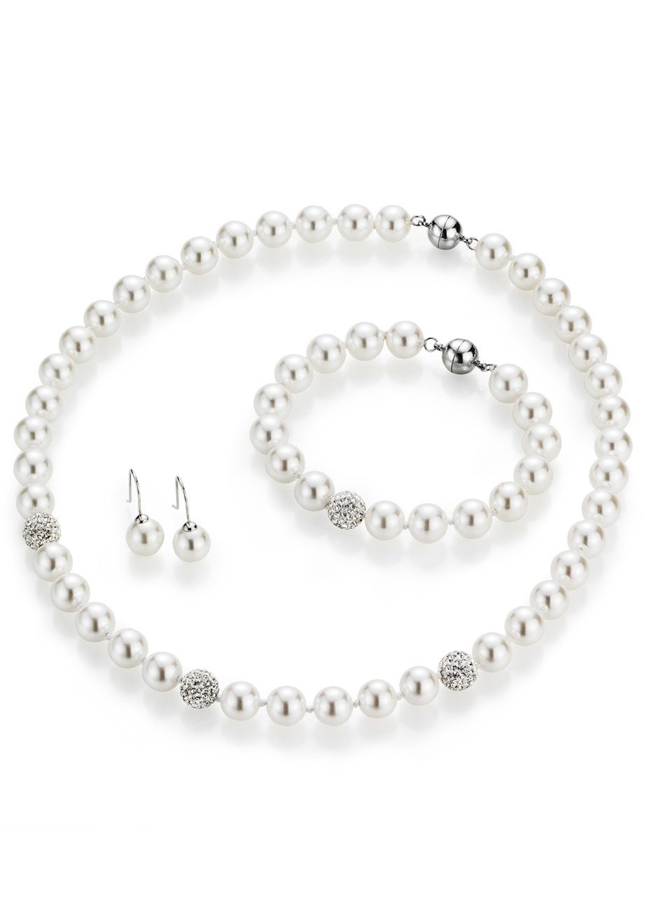 firetti Schmuckset: Collier, Armband und Paar Ohrhaken mit Perle und Kristallsteine