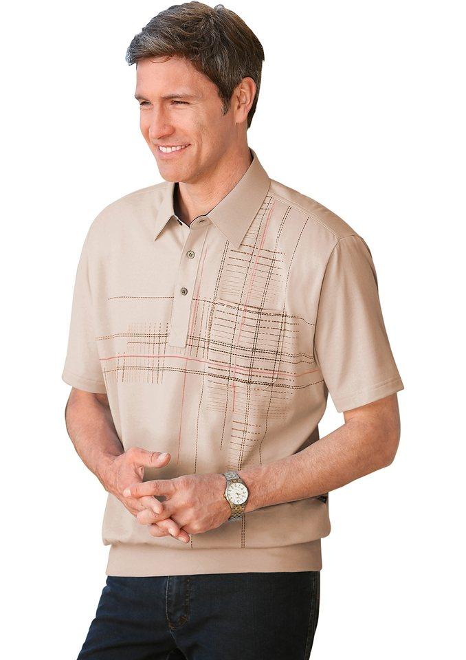 Hajo Poloshirt mit Druck in kitt