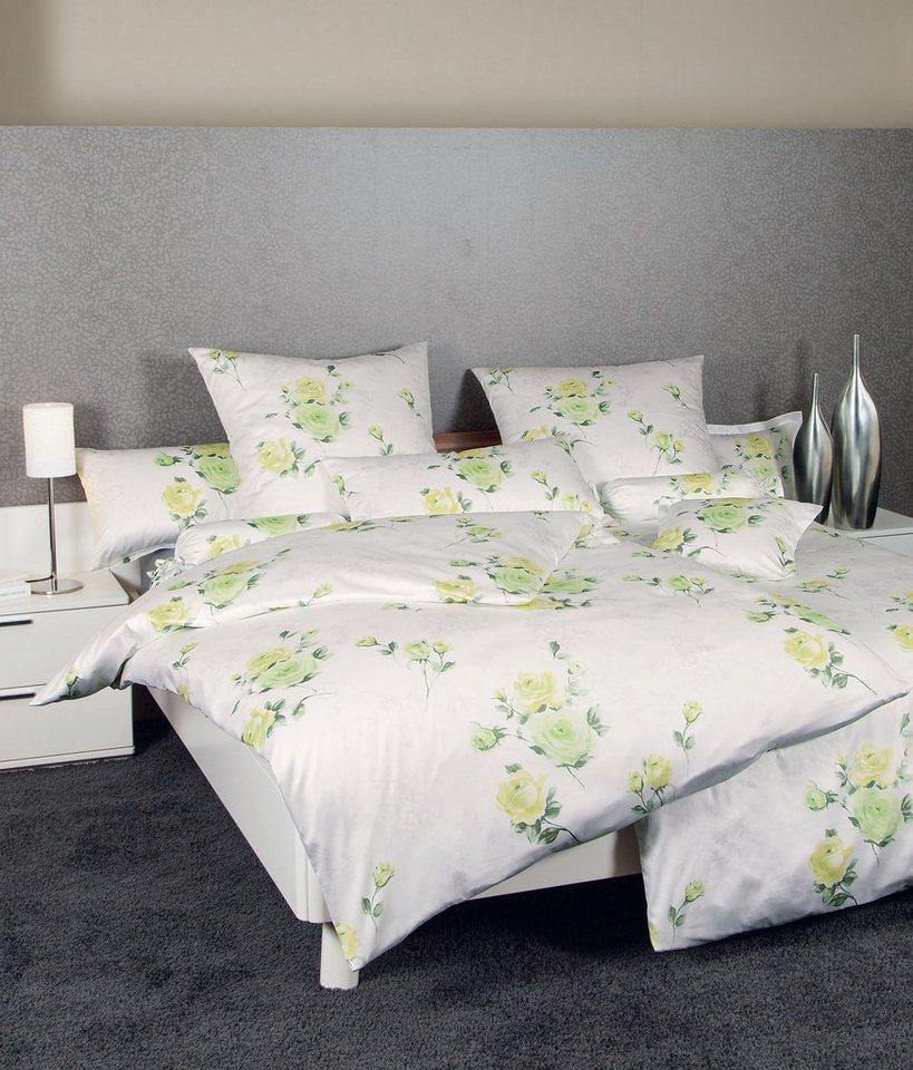 Bettwäsche, Janine, »Roses«, mit zarten Blüten-Motiven in hellgrün