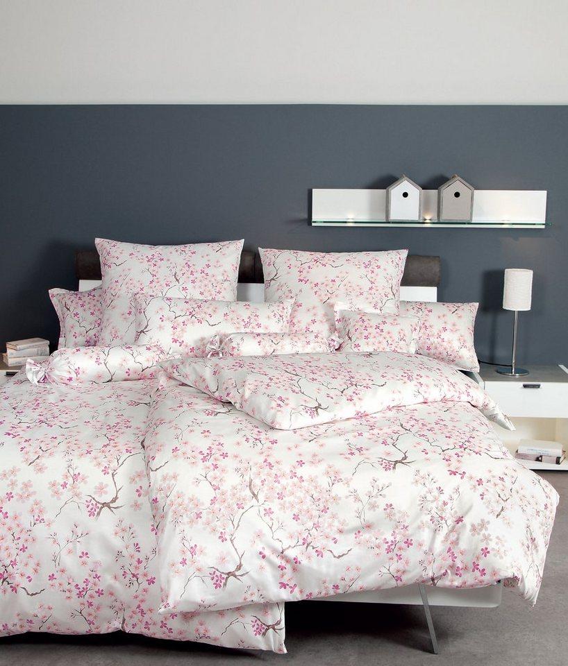 Bettwäsche, Janine, »Blütentraum«, mit feinen Blüten in rose