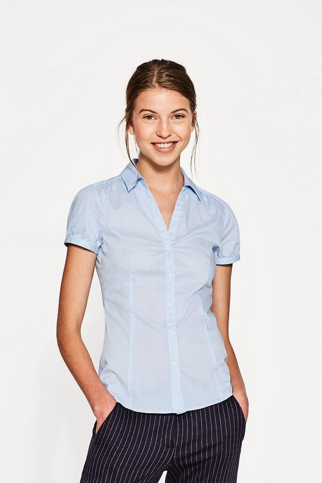 ESPRIT COLLECTION Nadelstreifen Popelinbluse mit Stretch in PASTEL BLUE