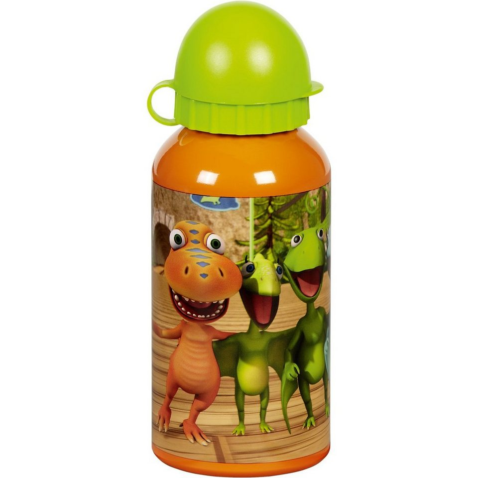 Alu Trinkflasche Dino Zug, 400 ml in orange