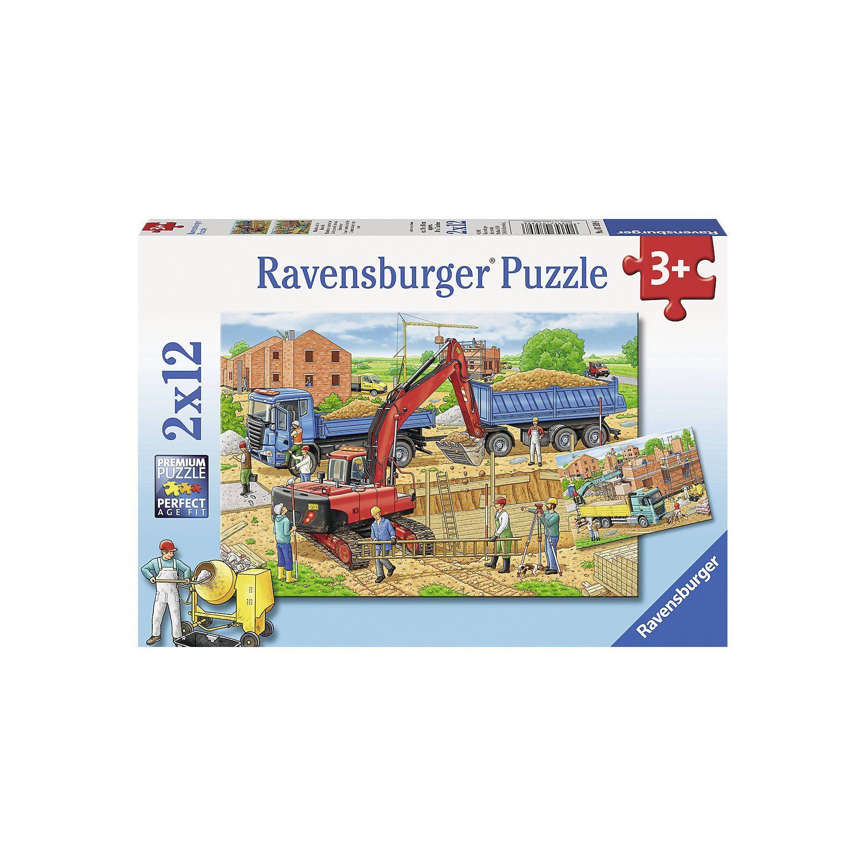 Ravensburger Puzzle Hausbau auf der Baustelle 2 x 12 Teile