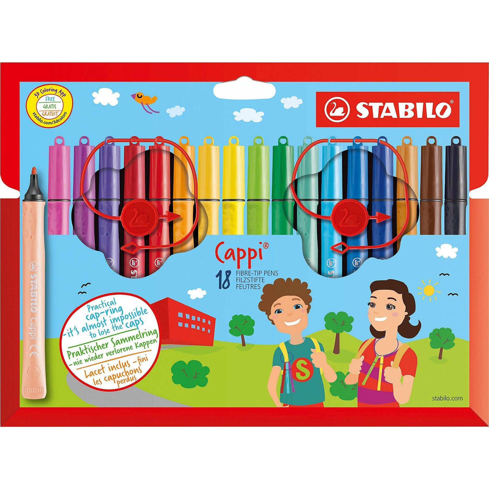 Stabilo Filzstifte Cappi im Etui, 18 Farben