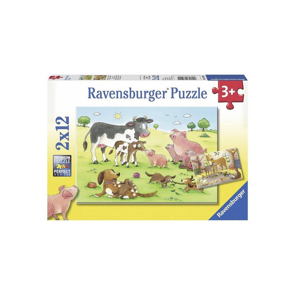 Ravensburger Puzzle Glückliche Tierfamilien 2 x 12 Teile