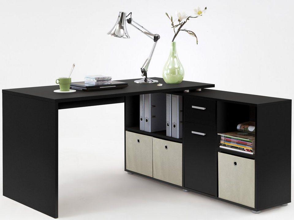 Eckschreibtisch schwarz weiß  FMD Eckschreibtisch »Lex«, mit Regal online kaufen | OTTO