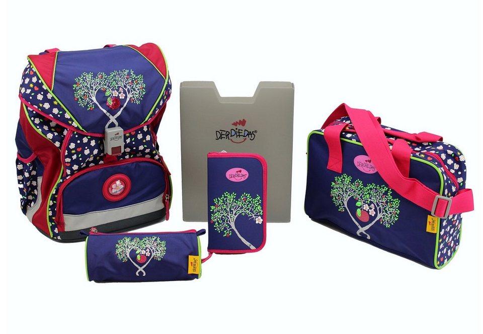 DerDieDas Schulrucksack Set (5tlg.), »ErgoFlex XL - Pink Apple« in lila/rot