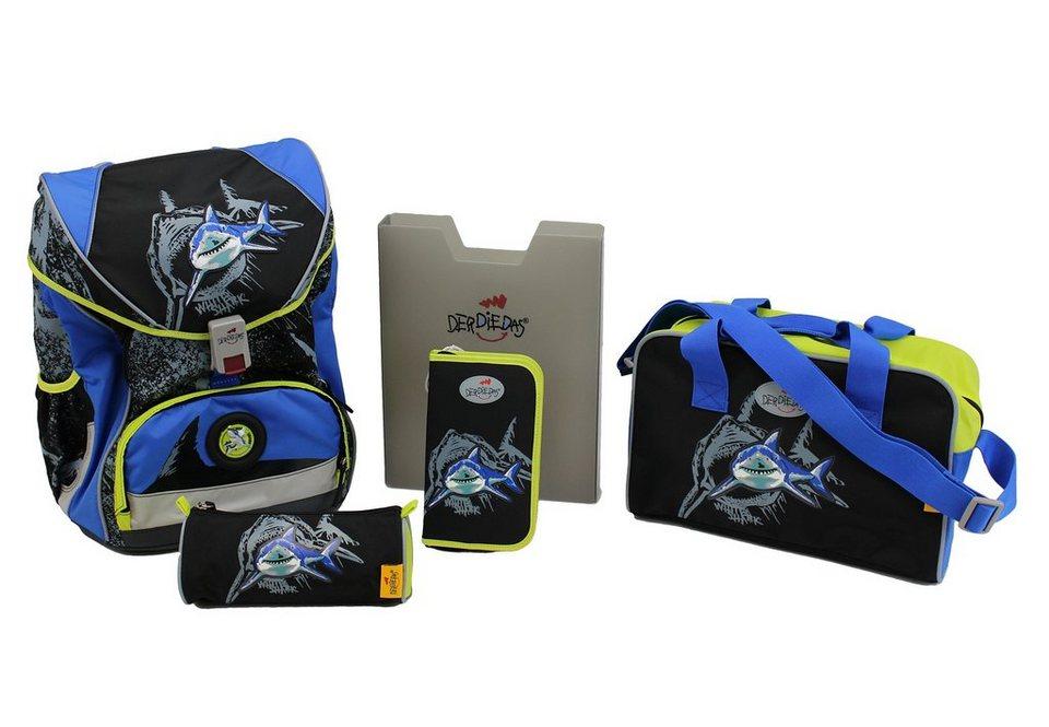DerDieDas Schulrucksack Set (5tlg.), »ErgoFlex XL - White Shark« in schwarz/blau