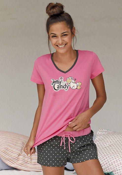 NICI Shorty mit Pünktchenshorts & T-Shirt mit Schäfchenprint in rosa/gepunktet