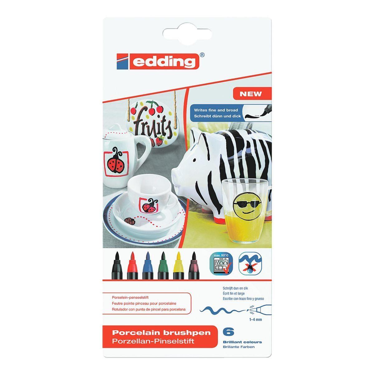 edding 6er-Set Fasermaler »Porzellan-Pinselstift 4200«