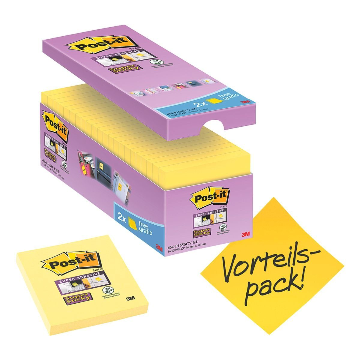 Post-it Super Sticky 16er-Pack Haftnotizblöcke »Super Sticky Notes«