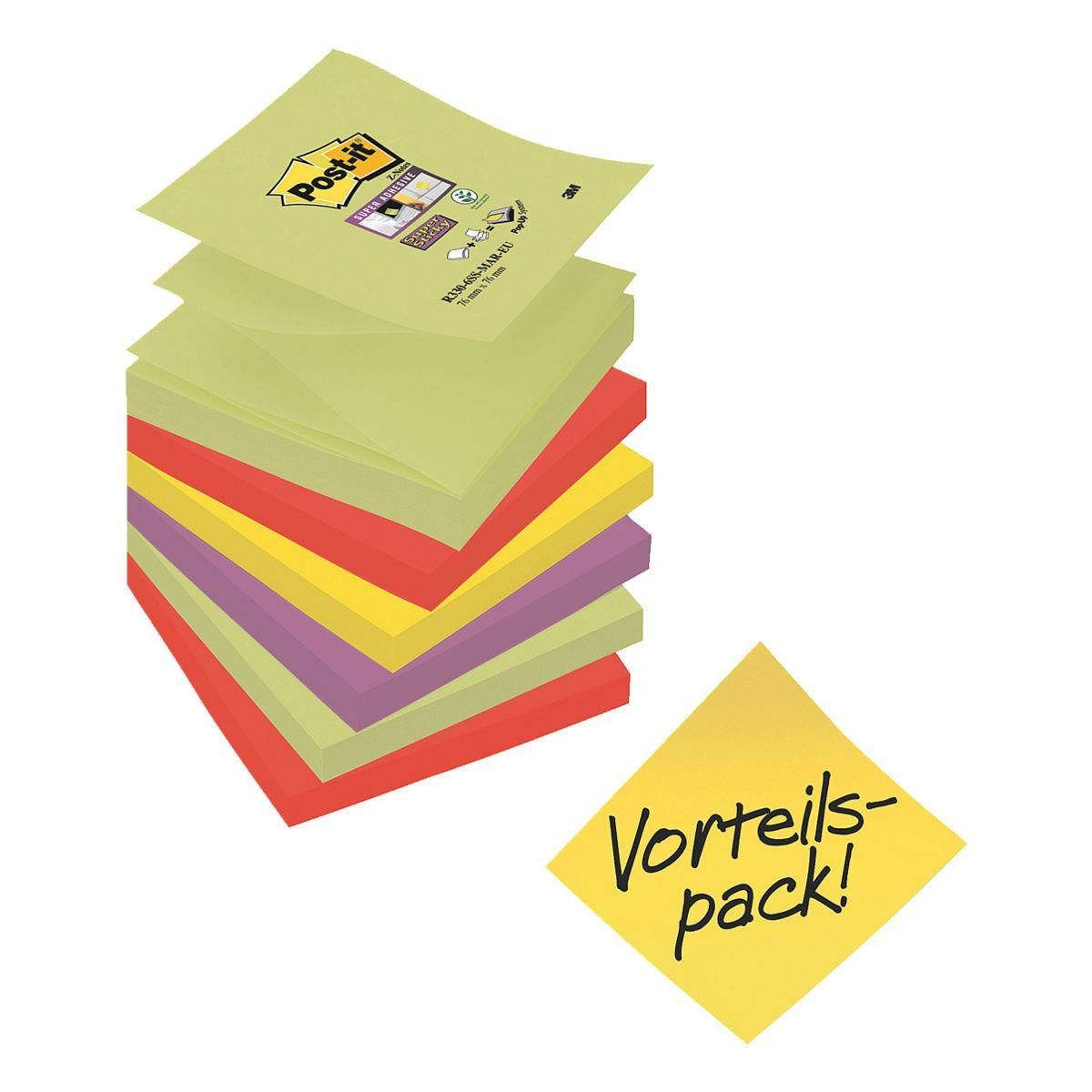 Post-it Super Sticky Haftnotizblock 7,6 x 7,6 cm, 6 Stück »Z-Notes 5+1«
