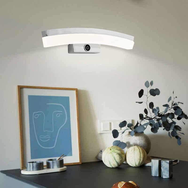 WOFI LED Wandleuchte, Wandleuchte Wandlampe Schreibtischlampe Touchdimmer, Metall, Glas, Chrom, Bogen Optik, 1x LED 6,8 Watt 440 Lumen warmweiß, Wofi 4234.01.01.0000