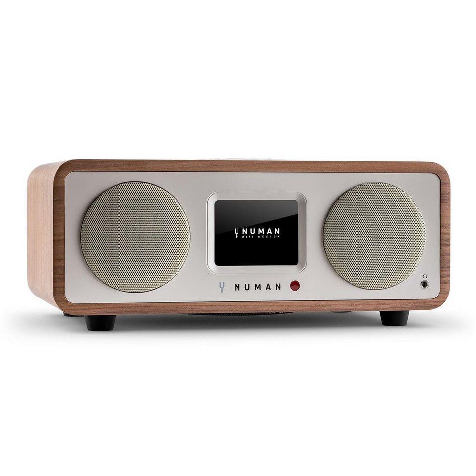 NUMAN Design Internet Radio Bluetooth Spotify WLAN DAB UKW MP3 AUX 20W »One 2.1« in Walnuss