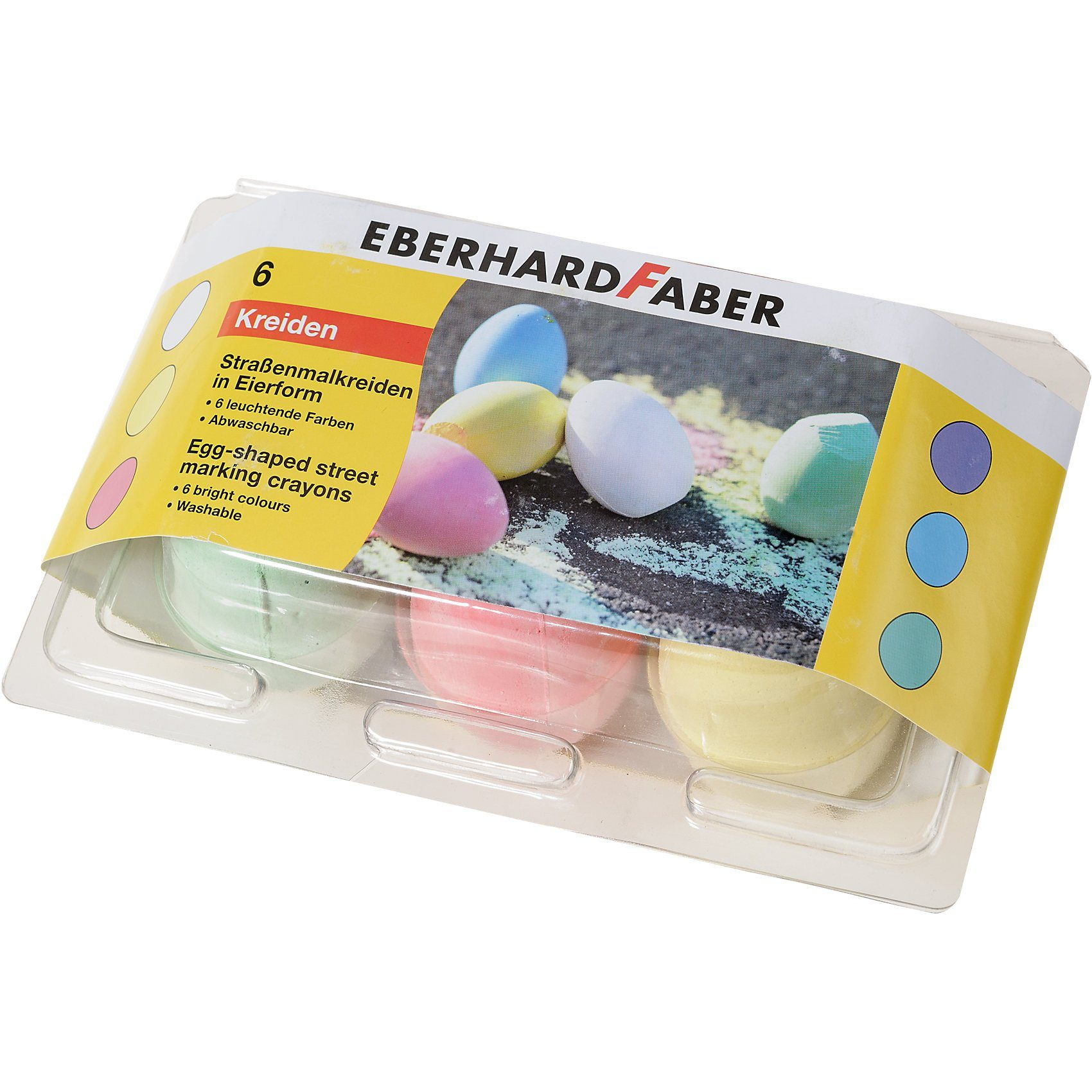 Eberhard Faber Straßenmalkreide in Eierform, 6 Farben