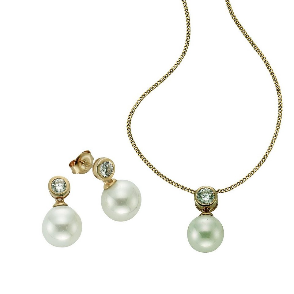 CELESTA 3tlg. Set »925/- Sterling Silber Perlen« in gelb