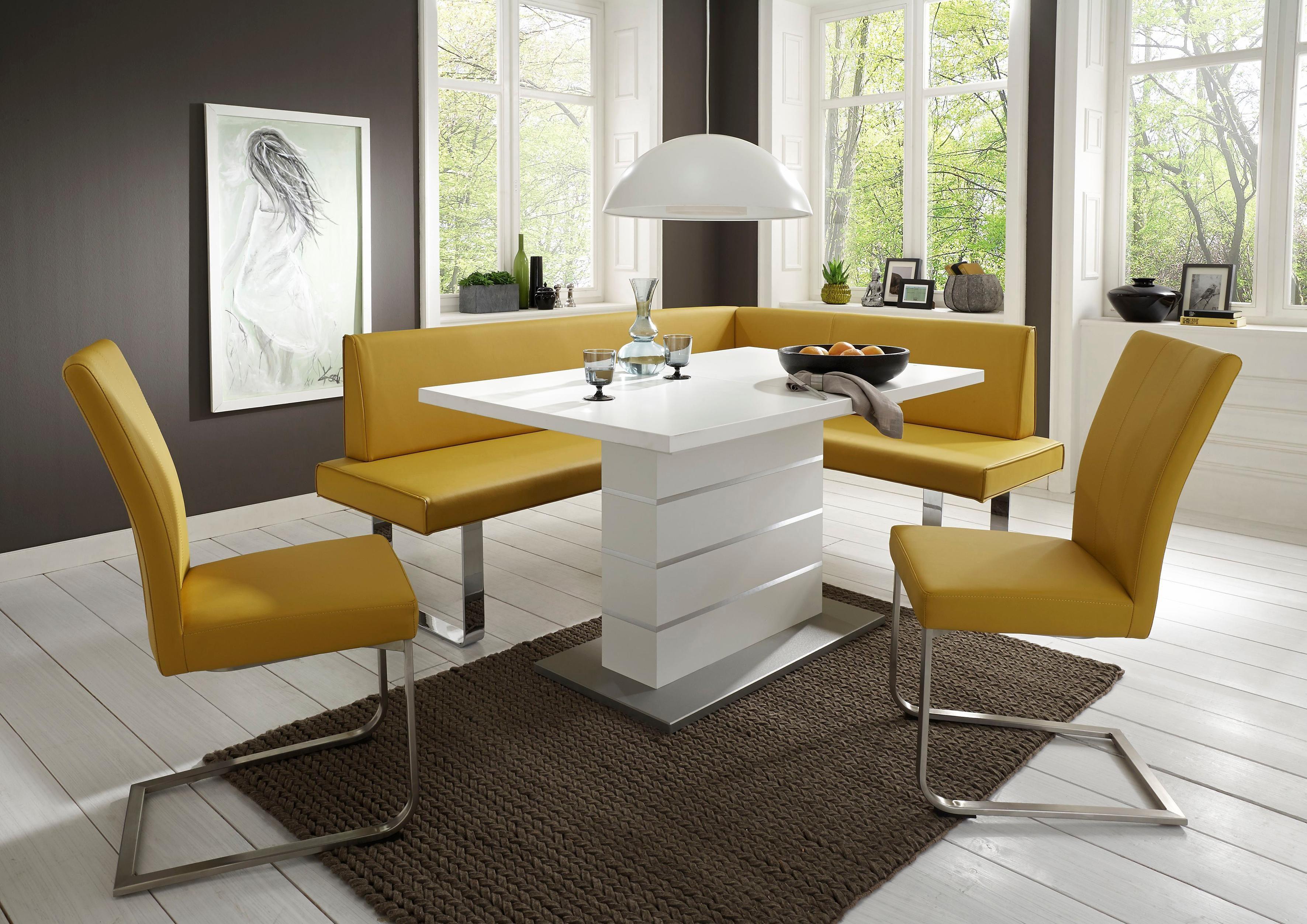 NIEHOFF SITZMÖBEL Eckbank »Nicola«, modernes Design mit gebürstetem Edelstahl