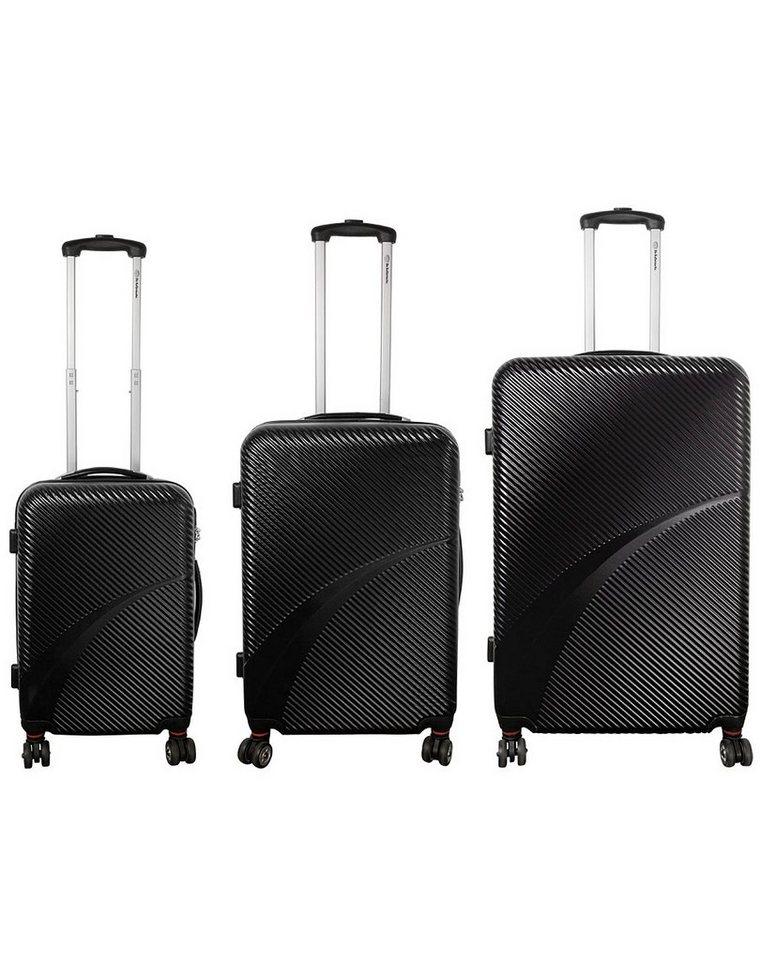 MONOPOL® Hartschalentrolley-Set mit 4 Doppelrollen, »Aruba« (3-tlg.) in schwarz