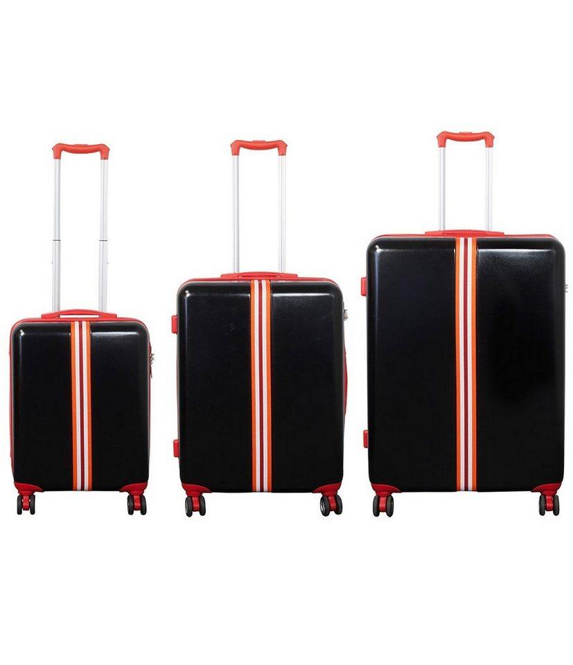 MONOPOL® Hartschalentrolley-Set mit 4 Doppelrollen, »Korsika« (3-tlg.) in rot