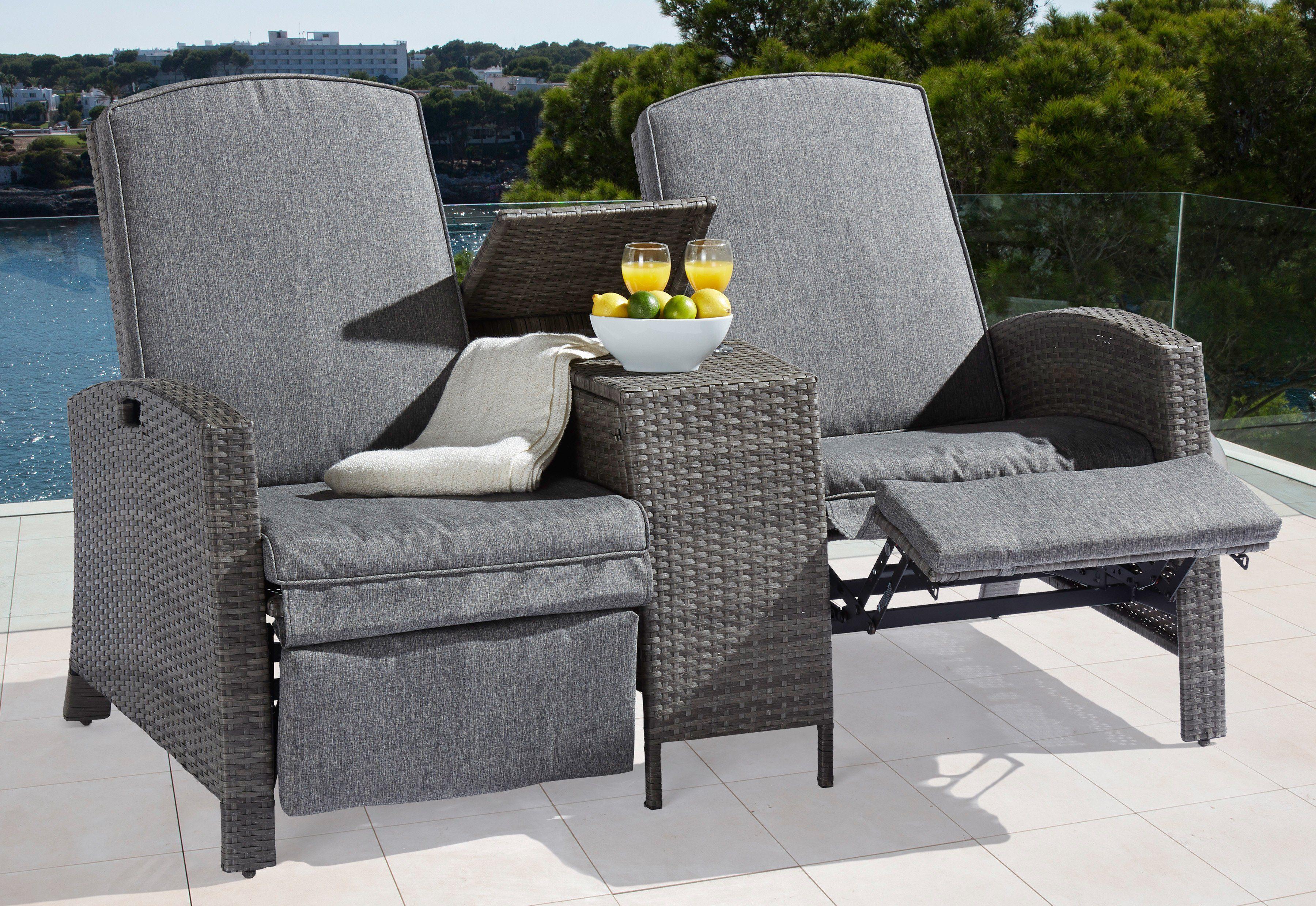 Gartengut Gartenbank »Relax«, Polyrattan, inkl. Auflagen, verstellbar, grau