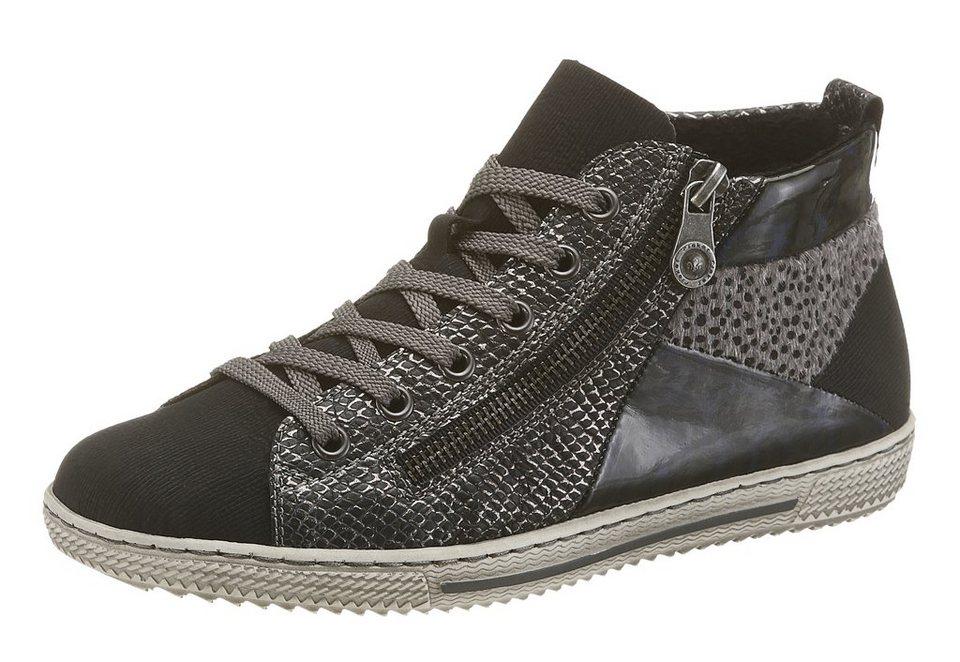 Rieker Sneaker im Materialmix in schwarz-silberfarben