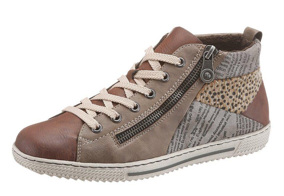 Rieker Sneaker im Materialmix in taupe-braun