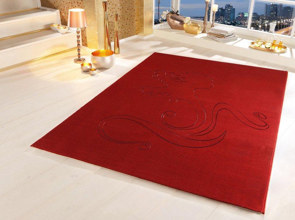 Teppich, OTTO KERN, »Lion«, gewebt, aus reiner Neuseelandwolle in rot