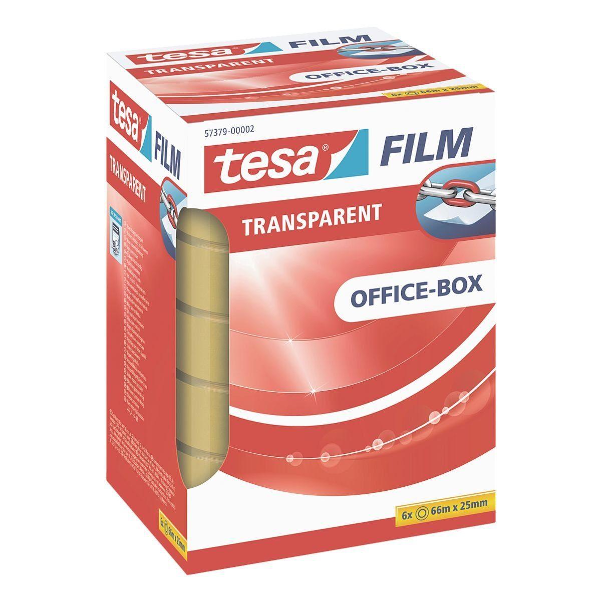 Tesa Klebeband transparent 57379, 25 mm/ 66 m (B/L) »Office Box«