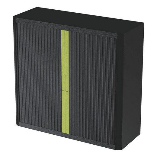 EASYOFFICE Rollladenschrank Motiv grüner Mittelstreifen auf schwarzem Hint