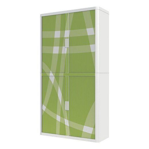 EASYOFFICE Rollladenschrank Motiv grün-weißes Muster