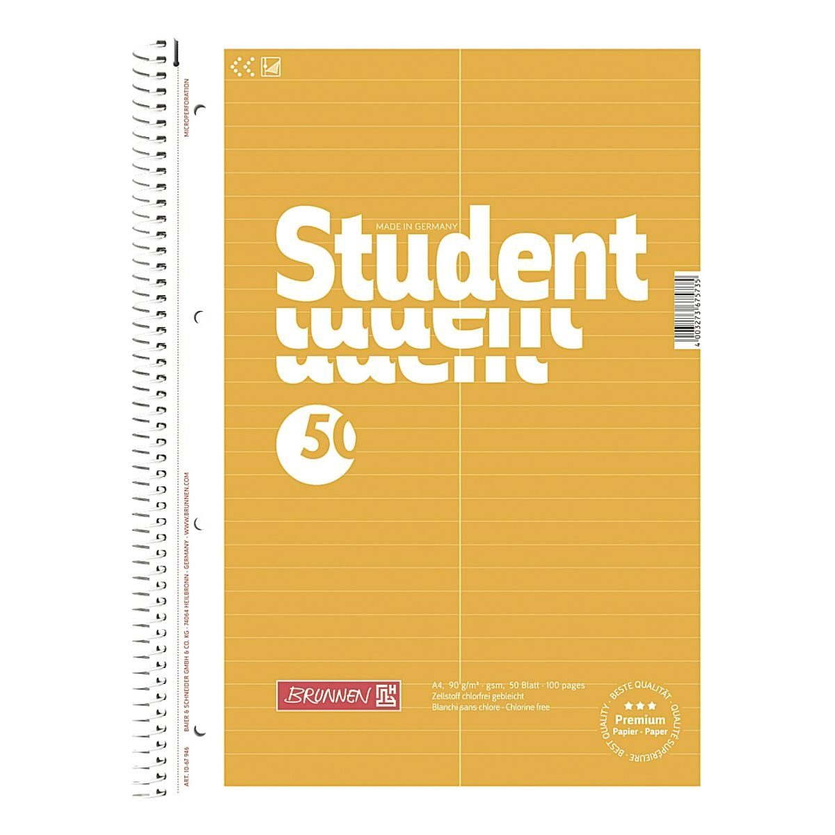 Brunnen Vokabel-Collegeblock »Student«