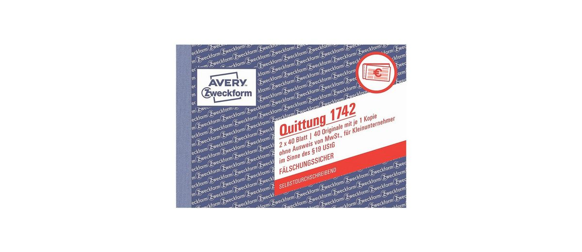 Avery Zweckform Formularbuch »Quittung ohne MwSt.«