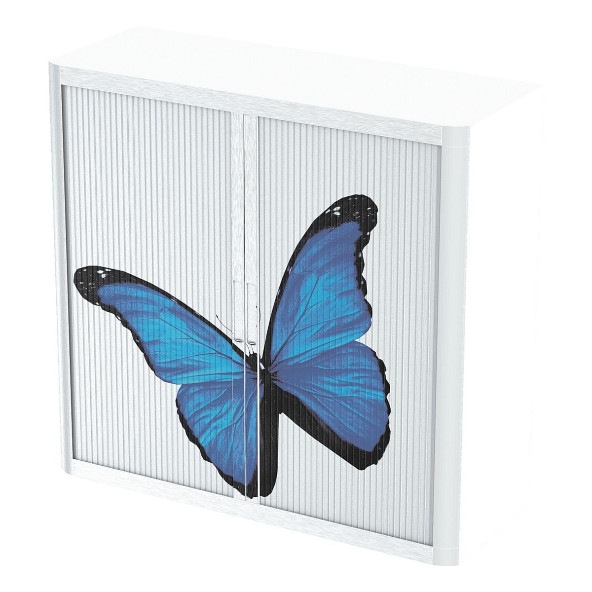 EASYOFFICE Rollladenschrank Motiv schwarz blauer Schmetterling