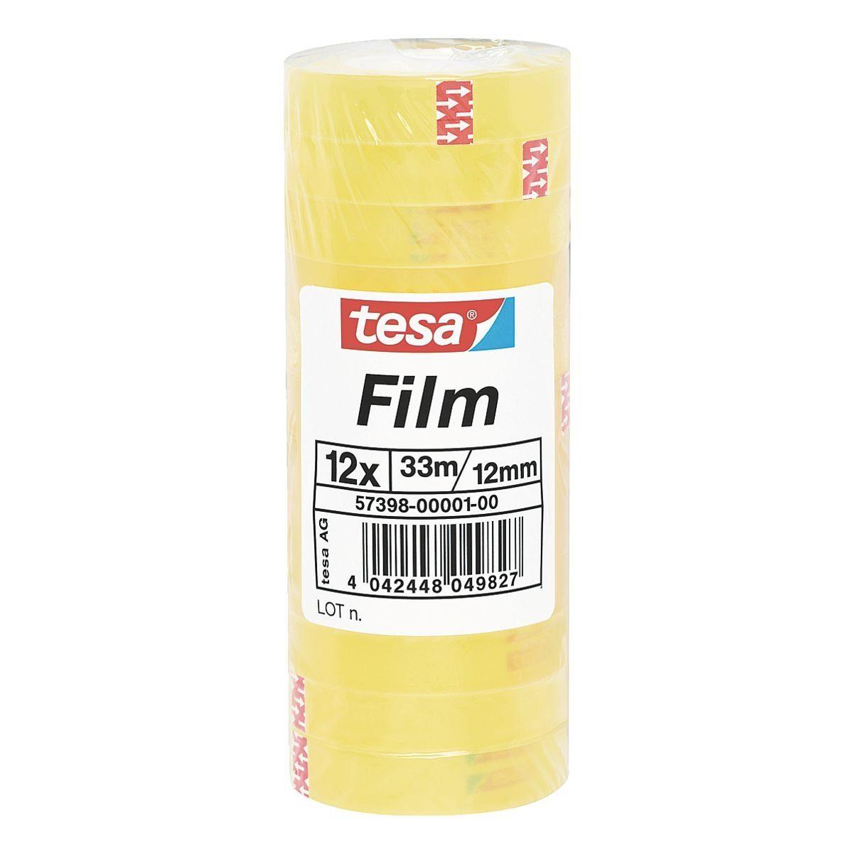 Tesa Klebefilm transparent 57398, 12 mm/33 m (B/L) »Standard Shrink Tower«