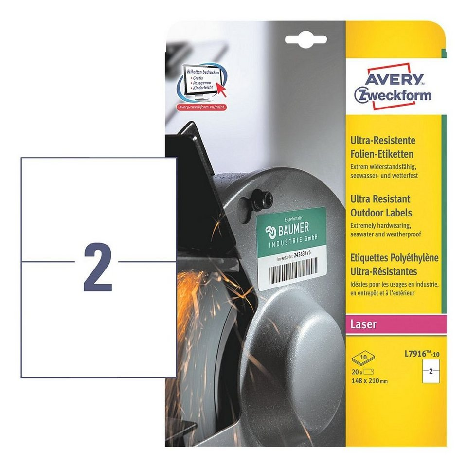 Avery Zweckform Ultra-Resistente Folien-Etiketten