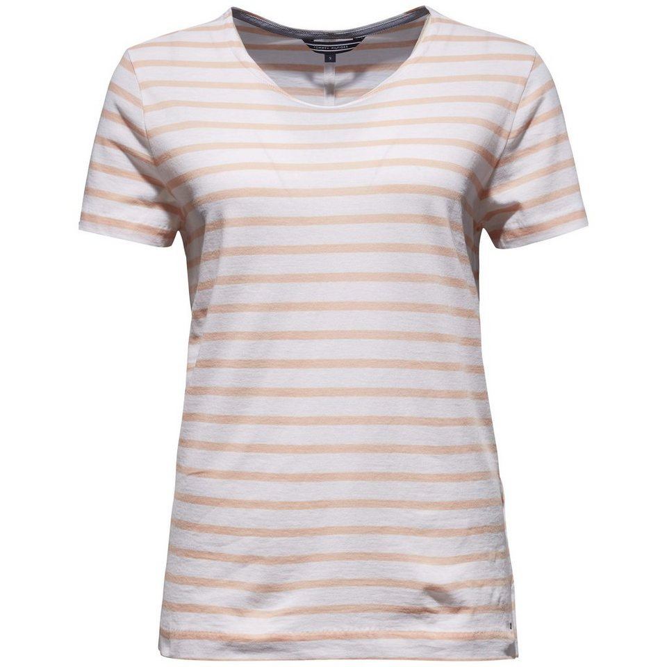 Tommy Hilfiger T-Shirts (mit Arm) »LARK C-NK TOP SS« in WHITE / PEACH PEARL