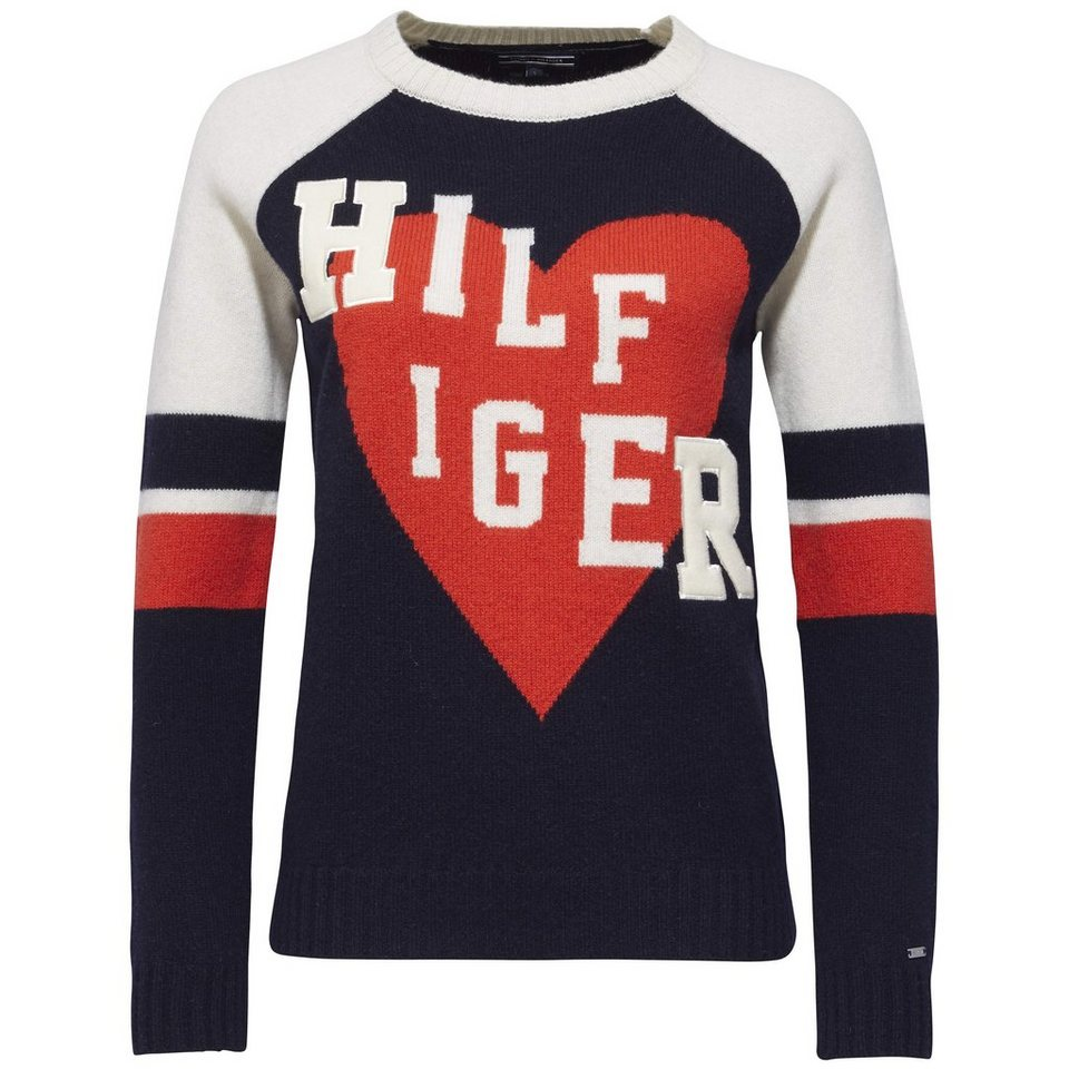 Tommy Hilfiger Pullover »HAMORA STATEMENT SWTR« in NIGHT SKY/SNOW WHITE