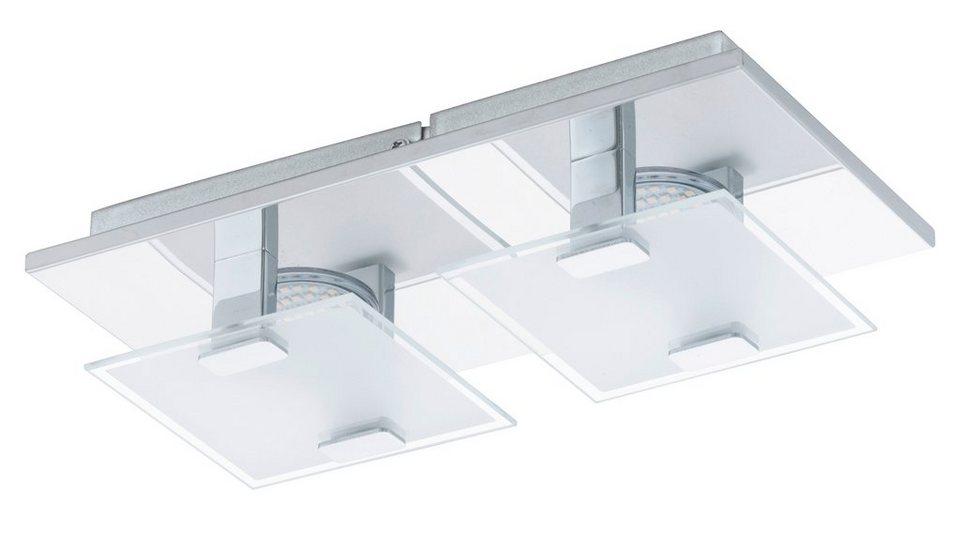 Eglo LED-Deckenleuchte, 2flg., »VICARO« in Edelstahl, chromfarben