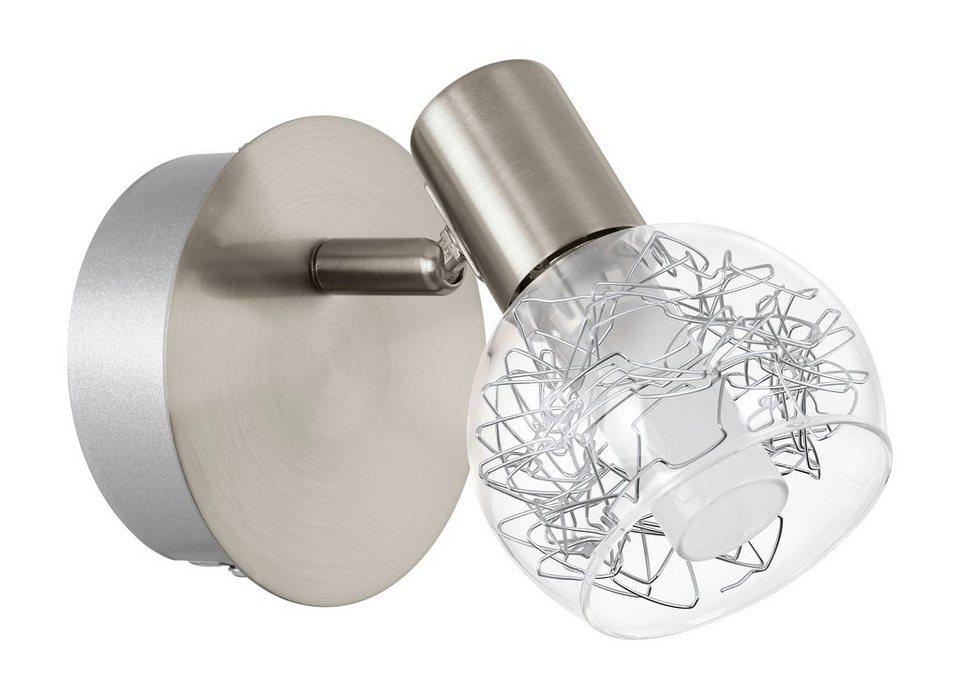 Eglo LED-Wandleuchte, 1flg. , »BASENTO« in Stahl, nickel-matt, Glas klar, satiniert