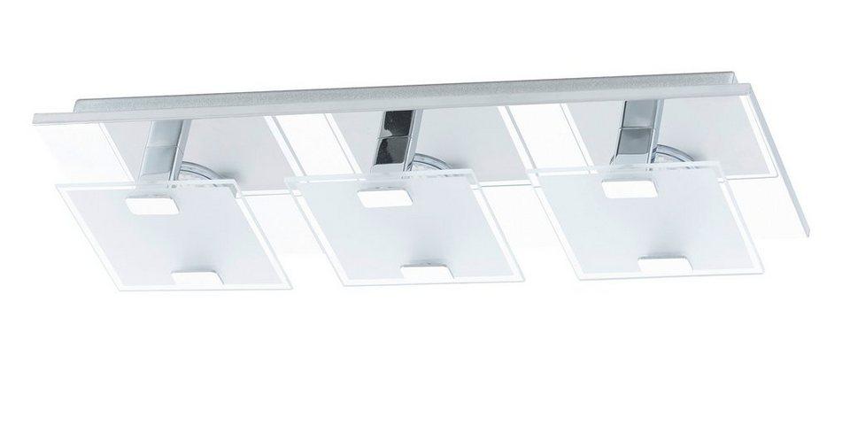 Eglo LED-Deckenleuchte, 3flg, »VICARO« in Edelstahl, chromfarben