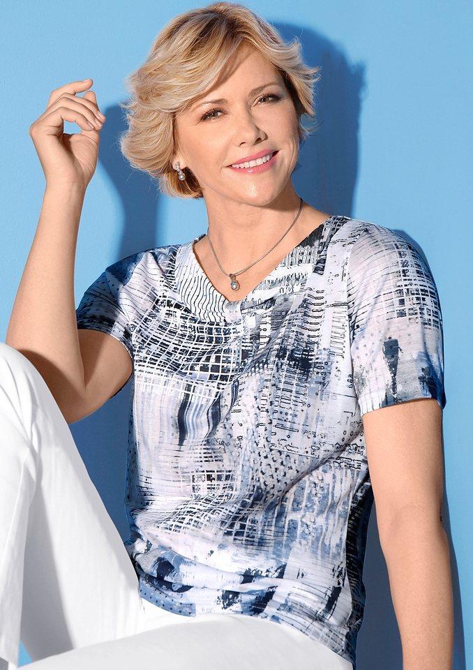 Classic Shirt in jeansblau-bedruckt