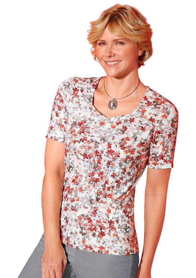 Classic Shirt in koralle-grau-bedruckt