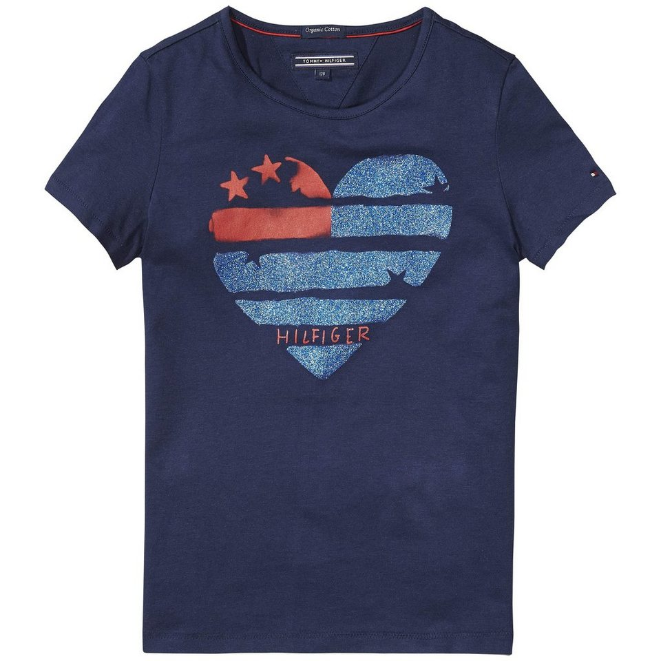 Tommy Hilfiger S/S T-Shirts »FLAG HEART CN KNIT S/S« in Black Iris