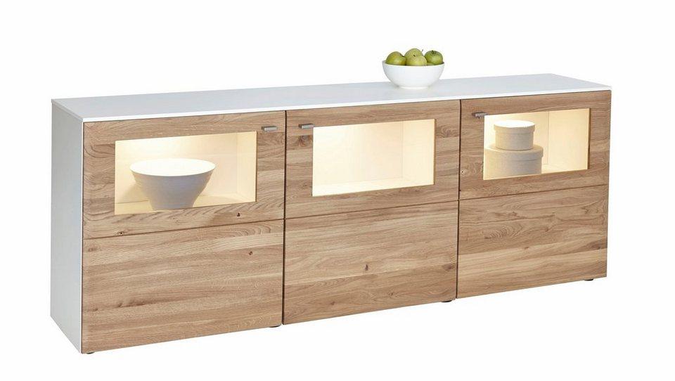 NETFURN BY GWINNER Sideboard »SOLANO«, Lack weiß, 3-türig, Breite 195 cm in Asteiche gebürstet und geölt