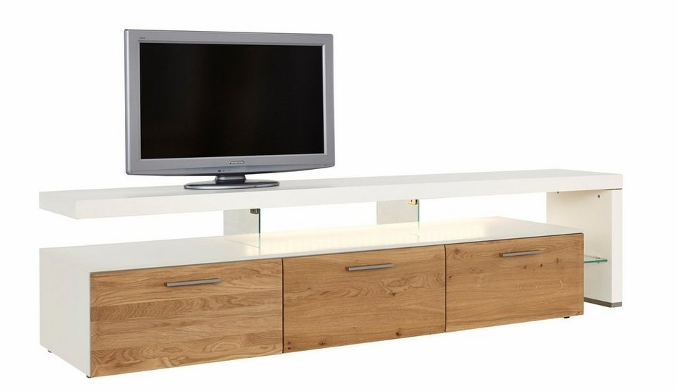 netfurn by gwinner lowboard mit tv br cke solano lack wei mit 3 schubladen breite 228 cm. Black Bedroom Furniture Sets. Home Design Ideas