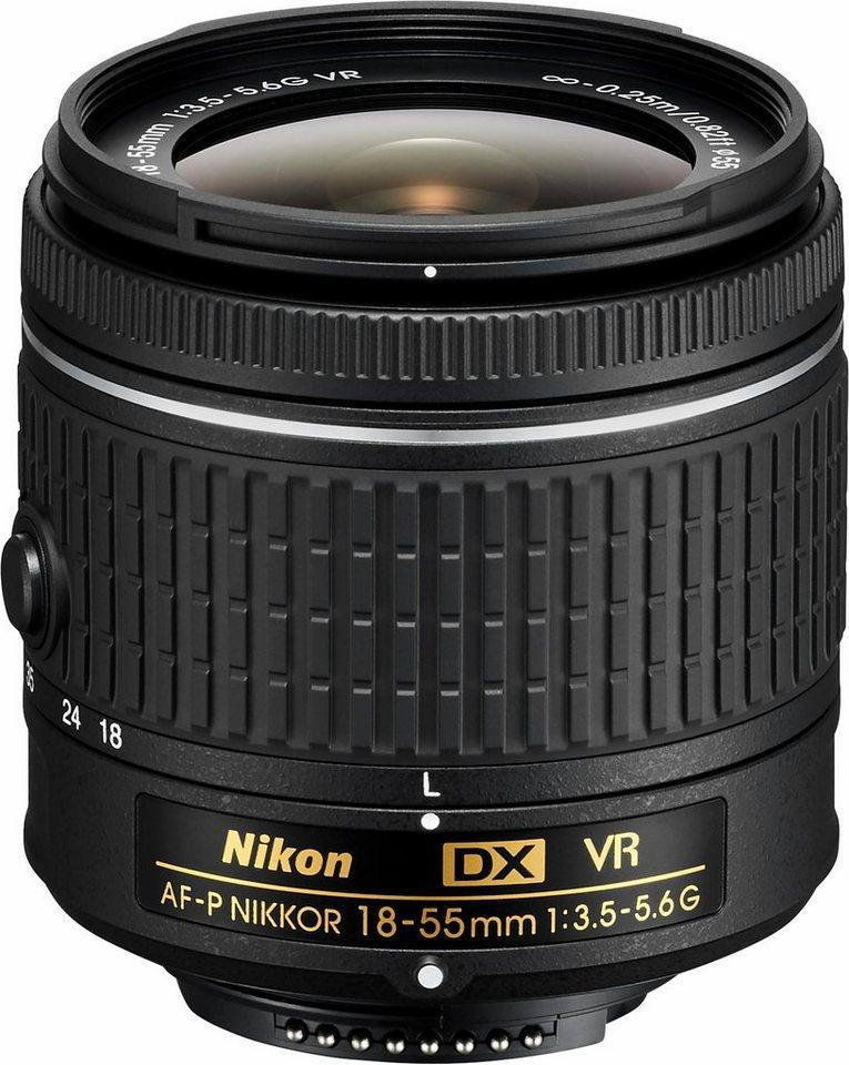 NIKON AF-P DX NIKKOR 18-55 MM 1:3,5-5,6 G VR Standardzoom Objektiv in schwarz